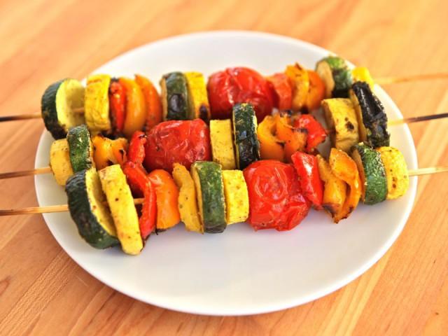 skewered veg