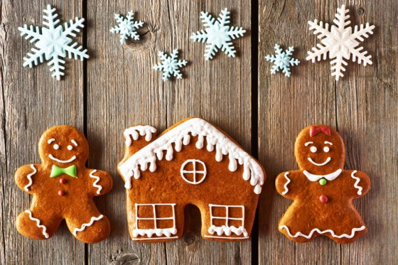 Christmas gingerbread man, woman and house