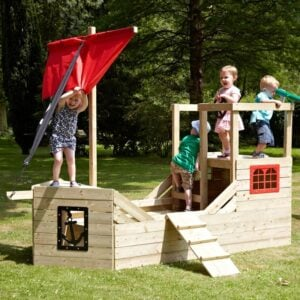 children playing in a pirate themed playhouse