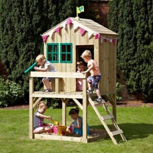 Children playing in tower playhouse