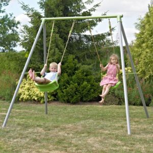 Children playing on Metal Swing set