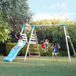 children playing on a outdoor playset