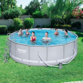 bestway 14ft power steel frame pool set with sand filter bestway 14ft pool all round fun. Black Bedroom Furniture Sets. Home Design Ideas
