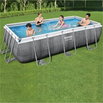 Bestway 13ft 3 x 6ft 7 x 39.5in Power Steel Rectangular Pool Set