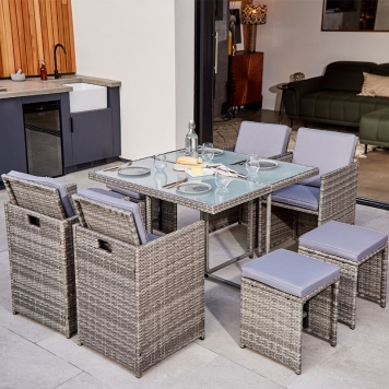 ABLO 8 Seater Rattan Cube Dining Set