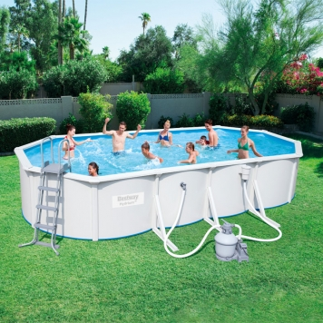 bestway 24ft x 12ft hydrium oval steel wall pool set all round fun. Black Bedroom Furniture Sets. Home Design Ideas