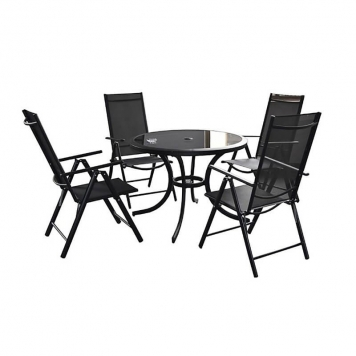 Cayman 4 Seater Round Dining Set With Reclining Chairs