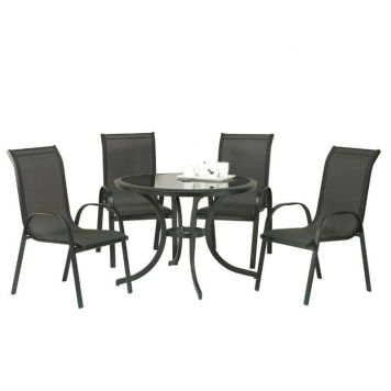 Cayman 4 Seater Round Dining Set