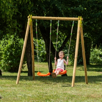 Trigano Jardin Natura Cherry Double Wooden Swing Set