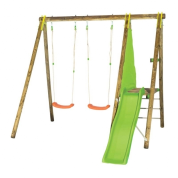 Trigano Jardin Topwood Dani Wooden Swing and Slide Set