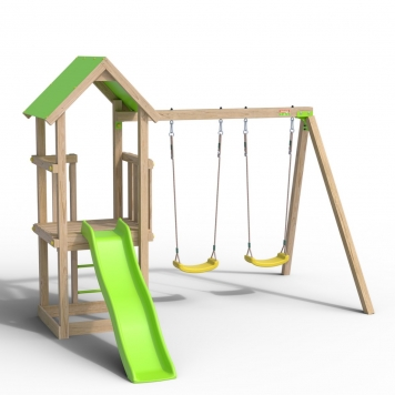 Trigano Jardin Easy Xperience Wooden Swing Set and Slide