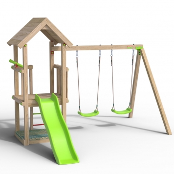 Trigano Jardin Easy Xplorer Wooden Swing Set and Slide