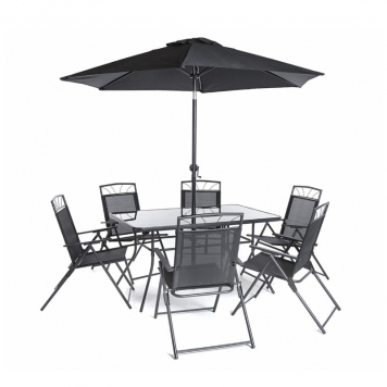 Memphis 6 Seater Black Dining Table Set