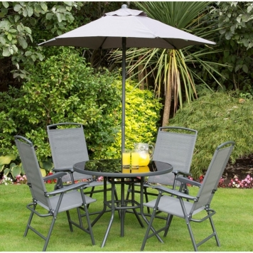 Havana Charcoal 4 Seater Garden Dining Set With Parasol