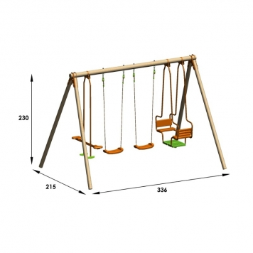 Trigano Jardin Hali Wooden Swing Set