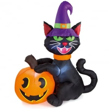 6ft Inflatable Halloween Black Cat with Pumpkin