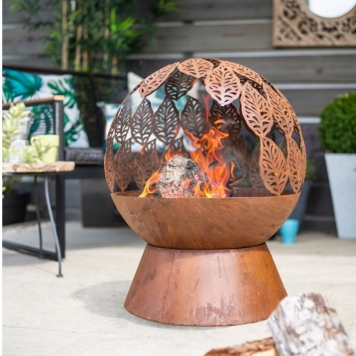 La Hacienda Leaves Fire Globe Fire Pit