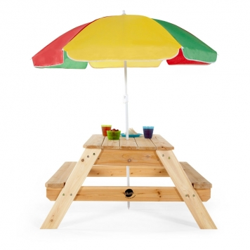 Plum Childrens Rectangular Picnic Table with Parasol
