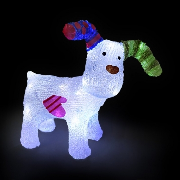 31cm The Snowdog with 24 Ice White LED Lights