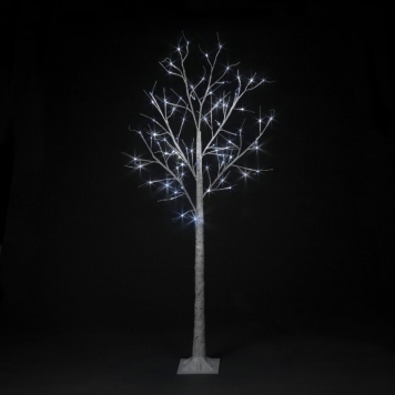 6ft Ice White LED Indoor and Outdoor Birch Tree