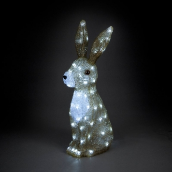 54cm Acrylic Hare with 80 Ice White LED Lights