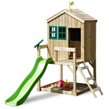 TP Toys Forest Cottage Wooden Playhouse  Slide