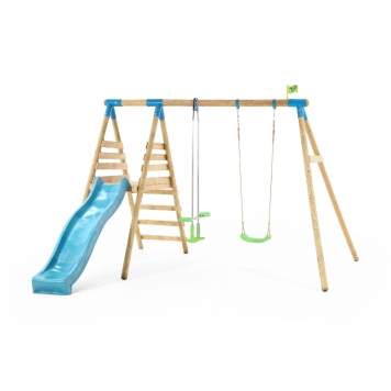 TP Toys Knightswood Wooden Double Swing and Glider Set with Slide