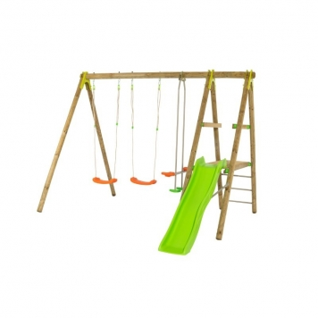 Trigano Jardin Topwood Tutti Wooden Swing and Slide Set