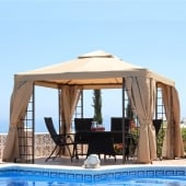 3m Aluminium Gazebo with Beige Net Curtains