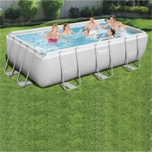 Bestway 13ft 3 x 6ft 7 x 39.5in Power Steel Frame Pool Set