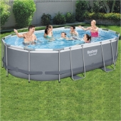 Bestway 16ft x 10ft x 42in Power Steel Frame Oval Pool Set