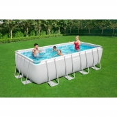 Bestway 16ft x 8ft x 48in Power Steel Rectangular Pool Set
