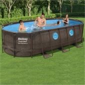Bestway 18ft x 9ft x 48in Power Steel Swim Vista Series Oval Pool Set
