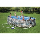 Bestway 20ft x 12ft x 48in Power Steel Comfort JET Series Oval Pool Set