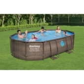 Bestway 16ft x 10ft x 42in Power Steel Swim Vista Series Oval Pool Set