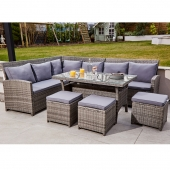 ABLO 9 Seater Rattan Grey Corner Lounge Set with Stools