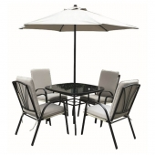 Amalfi Ivory 4 Seater Square Dining Set With Parasol