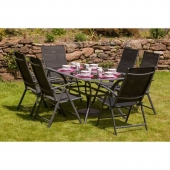 Cayman 6 Seater Rectangular Dining Set With Reclining Chairs