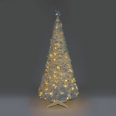 6ft Silver Holly LED Pre-Lit Pop-Up Christmas Tree