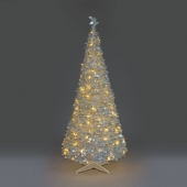 6ft Anti Silver Holly LED Pre-Lit Pop-Up Christmas Tree
