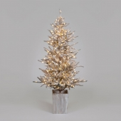 6ft Norwegian Woods Potted Flocked Christmas Tree with Warm White LEDs