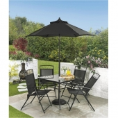 Memphis 4 Seater Black Dining Table Set