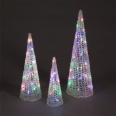 3 Piece Multi-Coloured Pyramid Set with 60 Pastel LEDs
