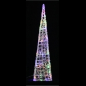 90cm Spun Acrylic Tower with Ice White and Multi-Coloured LED Lights