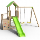 Trigano Jardin Ultra Xperience Wooden Swing Set and Slide