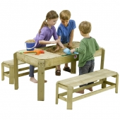 Plum Premium Wooden Activity Sandpit Table with Benches