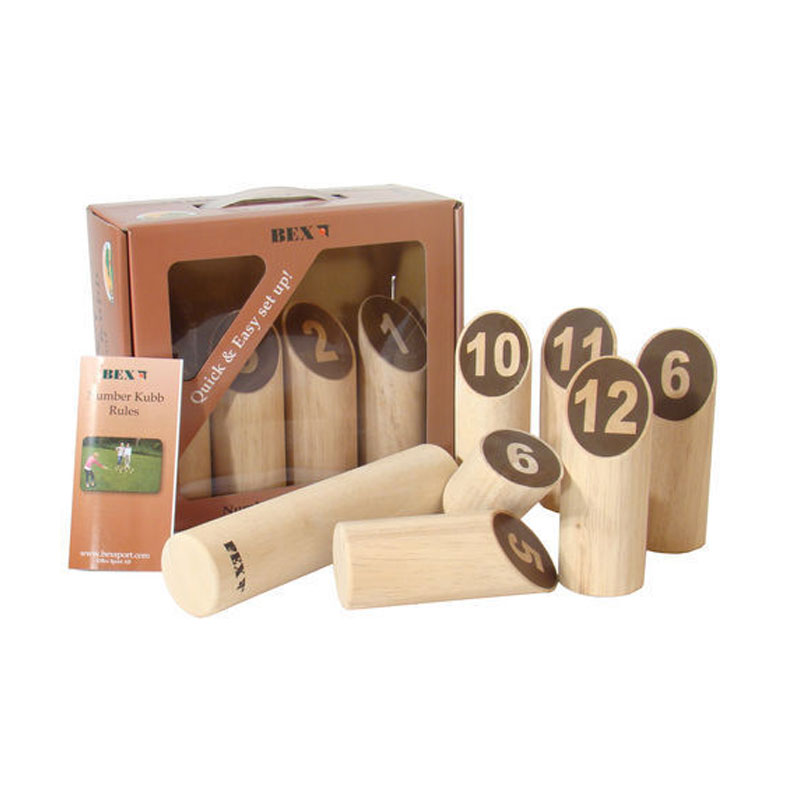 bex number kubb original (molkky finska) outdoor garden game