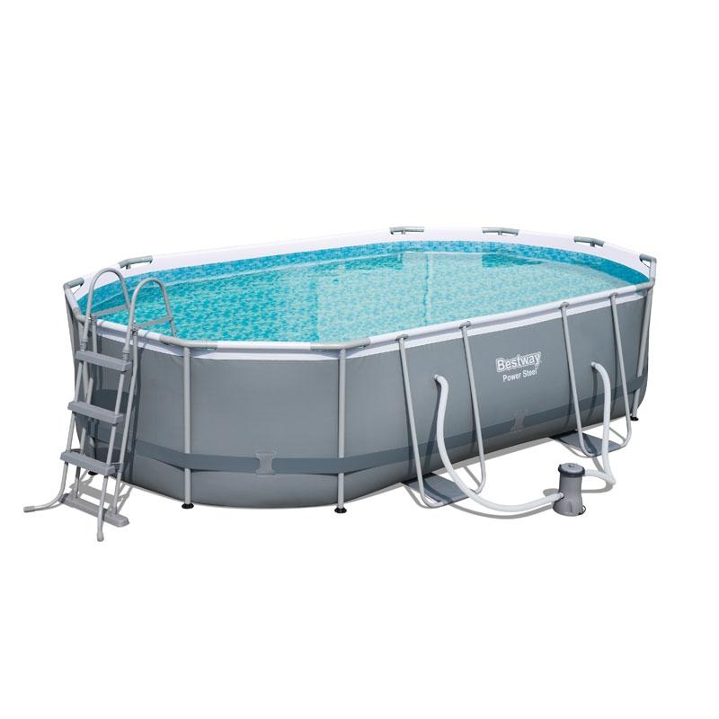Bestway 16ft x 10ft power steel oval pool set bestway for Piscina trigano jardin