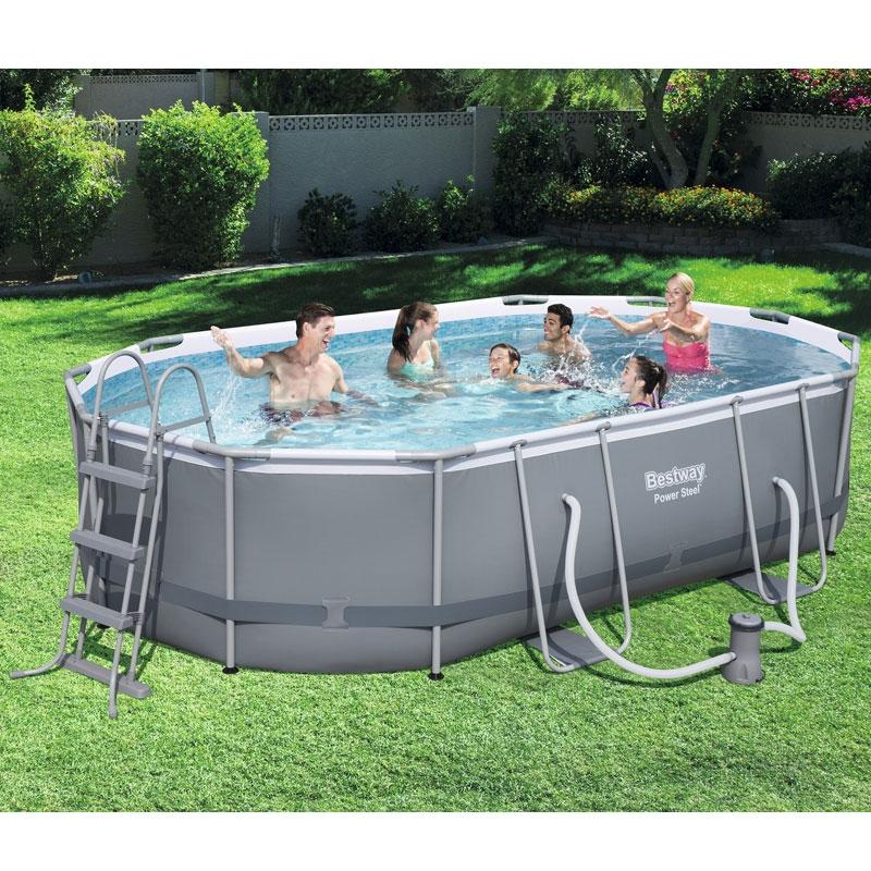 bestway 16ft x 10ft power steel oval pool set bestway 16ft pool all round fun. Black Bedroom Furniture Sets. Home Design Ideas