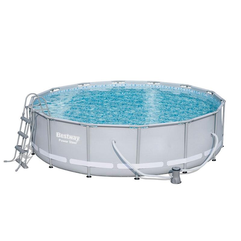 bestway 14ft power steel frame pool set bestway 14ft pool all round fun. Black Bedroom Furniture Sets. Home Design Ideas